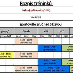 Od října 2020 – všichni – rozpis tréninků oddílu házené Jiskry – platí již od 29. září